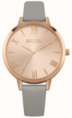 Missguided | orologio da donna | quadrante rosa cinturino in pelle grigia | MG001ERG