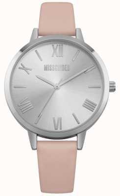 Missguided | orologio da donna | quadrante argento cinturino in pelle rosa MG001P