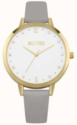 Missguided | orologio da donna | cinturino in pelle grigia cassa in oro | MG010EG