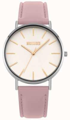 Missguided | orologio da donna | cinturino in pelle rosa quadrante bianco | MG017P