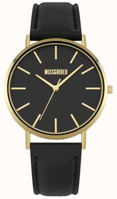 Missguided | orologio da donna | cinturino in pelle nera quadrante nero | MG017BG