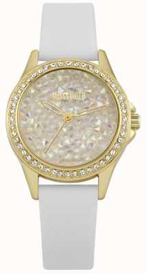 Missguided | orologio da donna | cinturino in pelle bianca cassa in oro | MG013WG