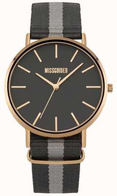 Missguided | orologio da donna | cinturino in tessuto nero e grigio | MG018ERG