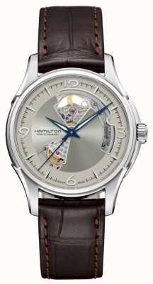 Hamilton Quadrante argento con cuore aperto automatico jazz master in pelle marrone H32565521