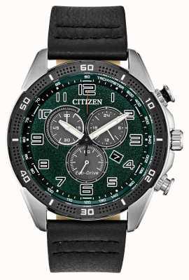 Citizen Azione Eco-Drive richiesta quadrante verde in pelle da uomo wr100 AT2441-08X