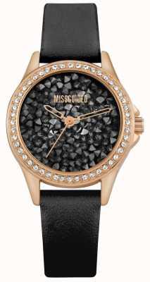 Missguided | cinturino in pelle nera da donna | quadrante cristallo nero MG013BRG