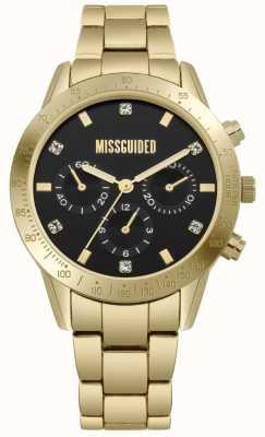 Missguided | acciaio inossidabile oro da donna | quadrante nero | cronografo | MG004GM