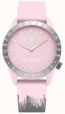 Hype | cinturino in silicone rosa / grigio da donna | quadrante rosa | HYL008PS