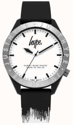 Hype | cinturino in silicone nero / bianco da uomo | quadrante bianco | HYG006BW