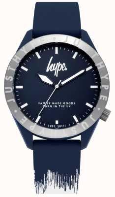 Hype | cinturino in silicone da uomo blu / bianco | quadrante blu | HYG006UW
