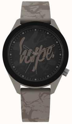 Hype | cinturino in silicone grigio uomo caldo | quadrante nero | HYG005BR