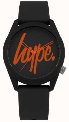 Hype | cinturino in silicone nero | quadrante nero e arancione | HYU001BO