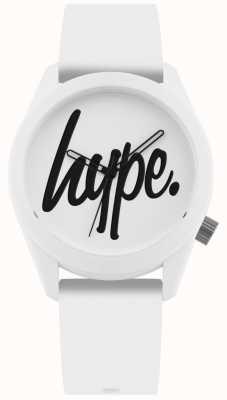 Hype | cinturino in silicone bianco | quadrante bianco e nero | HYU001W