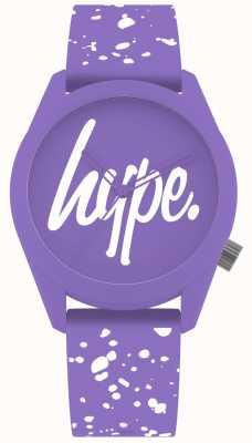 Hype | cinturino in silicone viola e bianco da donna | quadrante viola | HYL001VW