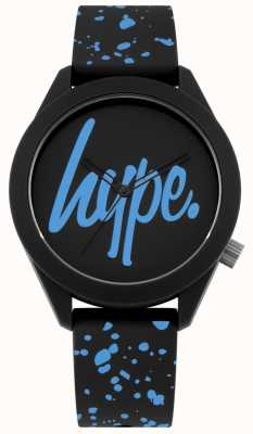 Hype | cinturino in silicone nero e blu da uomo | quadrante nero / blu | HYG003BU