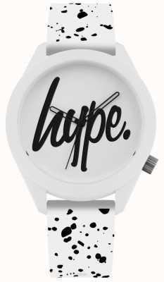 Hype | cinturino in silicone bianco e nero da uomo | quadrante bianco | HYG003W