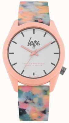 Hype | cinturino in silicone multicolore rosa | quadrante bianco | HYU009PU