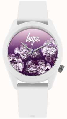 Hype | cinturino in silicone bianco | quadrante fiore viola | HYU010WV