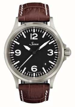 Sinn 556 un vetro zaffiro sportivo in pelle marrone goffrata 556.014 BROWN ALLIGATOR STYLE WHITE STITCH