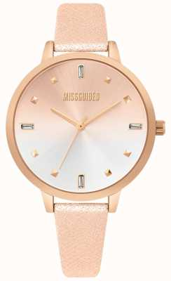 Missguided | orologio da donna in pelle oro rosa | quadrante due toni | MG020RG