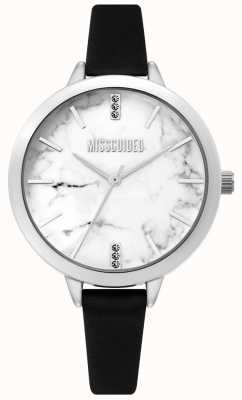 Missguided | orologio da donna in pelle nera | quadrante in marmo bianco MG011BS