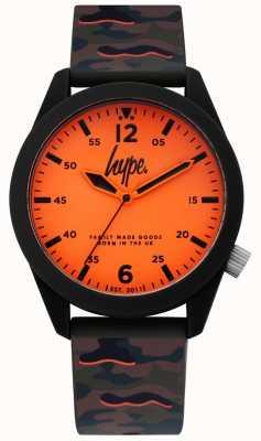 Hype | cinturino in silicone da uomo in camoscio | quadrante arancione | HYG019NO