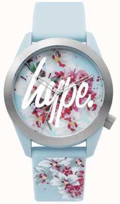 Hype | orologio da donna | cinturino in silicone blu | quadrante floreale | HYL022US