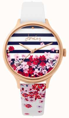 Joules | orologio da donna | cinturino floreale in pelle bianca | JSL015WRG
