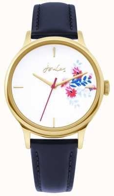 Joules | orologio da donna | cinturino in pelle blu | quadrante bianco floreale | JSL017UG