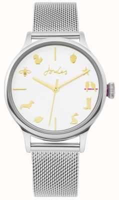 Joules | orologio da donna | cinturino in maglia d'argento | quadrante bianco | JSL011SM