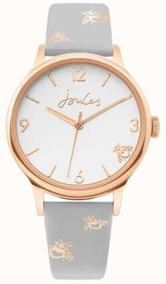 Joules | cassa da donna in oro rosa | cinturino in pelle di bue grigio | JSL016ERG
