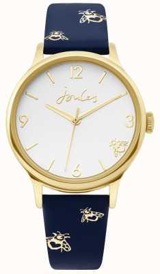 Joules | cassa in oro da donna | cinturino in pelle blu con stampa a calabrone | JSL016UG