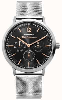 Ben Sherman | orologio da uomo in maglia d'argento | quadrante nero | BS011ESM