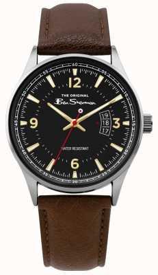Ben Sherman | orologio da uomo in pelle marrone con scritta | quadrante nero | BS008BR