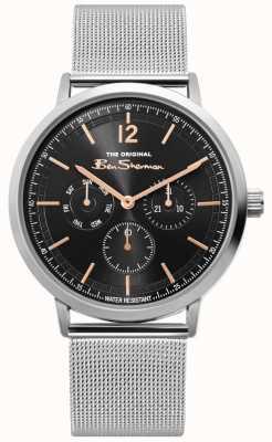 Ben Sherman | orologio da uomo in maglia argento con scritta | BS008B
