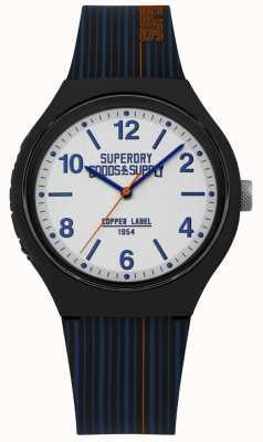 Superdry | cinturino in silicone blu marino | quadrante argento | SYG252U