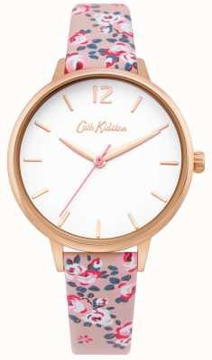 Cath Kidston | orologio da donna hampton | cinturino in pelle floreale | quadrante bianco | CKL067PRG