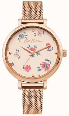 Cath Kidston | orologio da donna brampton ditsy | bracciale in maglia oro rosa | CKL079RGM