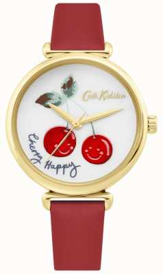 Cath Kidston | womens cherry happy watch | cinturino in pelle rossa | quadrante bianco CKL081RG