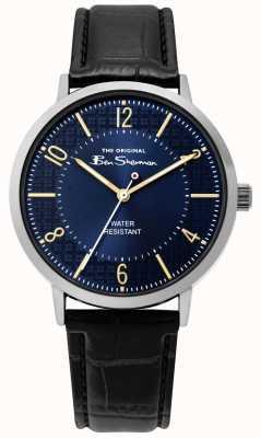Ben Sherman | orologio da uomo | cinturino in pelle nera | quadrante blu | BS018B