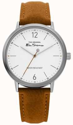 Ben Sherman | orologio da uomo | cinturino marrone chiaro | quadrante bianco | BS019T