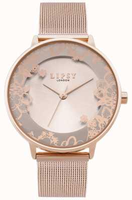 Lipsy | braccialetto in maglia oro rosa da donna | quadrante in oro rosa | LP646