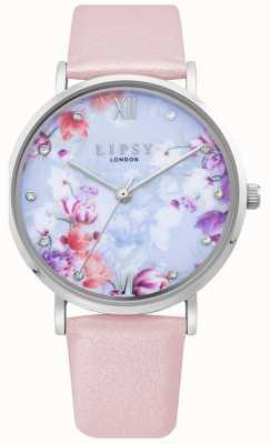 Lipsy | cinturino in pelle rosa pallido da donna | quadrante floreale | LP656