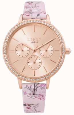 Lipsy | cinturino floreale rosa da donna | quadrante in oro rosa | LP648