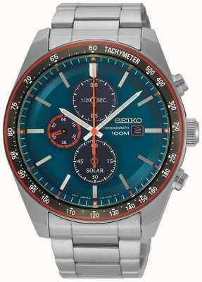 Seiko Cronografo solare da uomo con quadrante blu in acciaio inossidabile SSC717P1