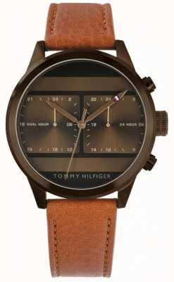 Tommy Hilfiger | orologio da uomo con cinturino in pelle marrone | 1791594