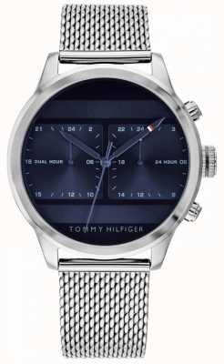 Tommy Hilfiger | orologio da uomo in acciaio inossidabile con maglie | quadrante blu | 1791596