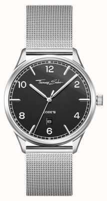 Thomas Sabo | bracciale in maglia di acciaio inossidabile argento | quadrante nero | WA0339-201-203-40