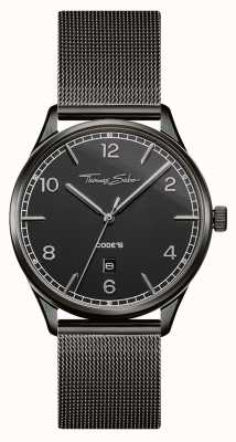 Thomas Sabo | bracciale in maglia di acciaio nero | quadrante nero | WA0342-202-203-40