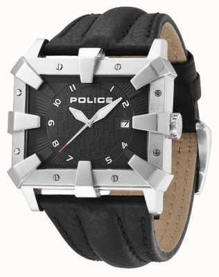 Police Quadrante nero con cinturino in pelle nera da uomo PL.93404AEU/02